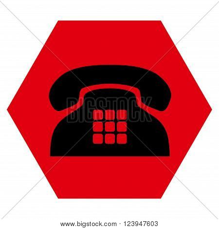 Tone Phone vector icon symbol. Image style is bicolor flat tone phone pictogram symbol drawn on a hexagon with intensive red and black colors.