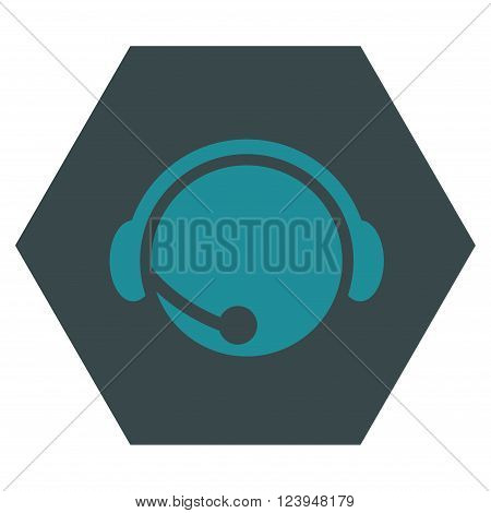 Call Center Operator vector icon. Image style is bicolor flat call center operator iconic symbol drawn on a hexagon with soft blue colors.