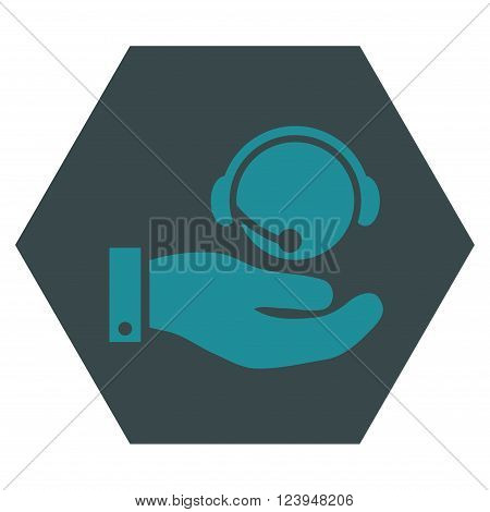 Call Center Service vector icon. Image style is bicolor flat call center service pictogram symbol drawn on a hexagon with soft blue colors.