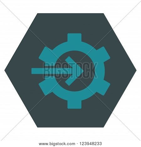 Cog Integration vector icon. Image style is bicolor flat cog integration pictogram symbol drawn on a hexagon with soft blue colors.