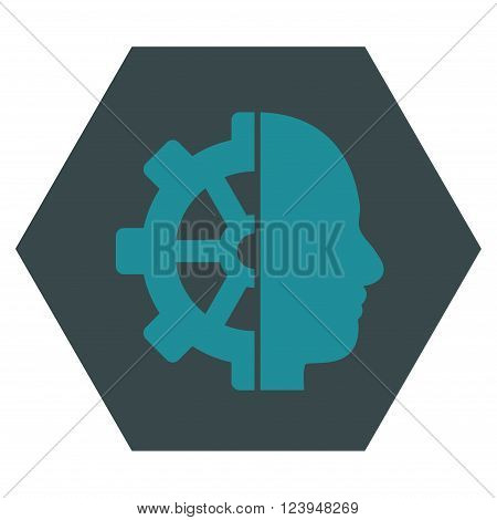Cyborg Gear vector icon symbol. Image style is bicolor flat cyborg gear pictogram symbol drawn on a hexagon with soft blue colors.