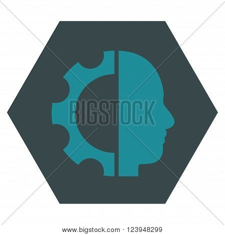 Cyborg Gear vector symbol. Image style is bicolor flat cyborg gear icon symbol drawn on a hexagon with soft blue colors.