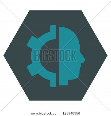 Cyborg Gear vector icon. Image style is bicolor flat cyborg gear icon symbol drawn on a hexagon with soft blue colors.
