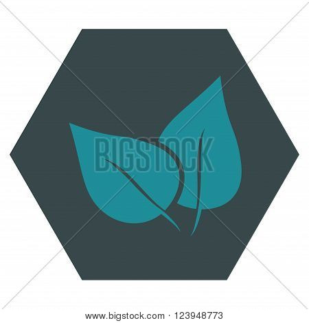 Flora Plant vector icon symbol. Image style is bicolor flat flora plant icon symbol drawn on a hexagon with soft blue colors.