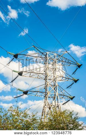 Green energy concept, Electricity station, Electricity plant landscape over blue sky