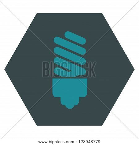 Fluorescent Bulb vector icon. Image style is bicolor flat fluorescent bulb icon symbol drawn on a hexagon with soft blue colors.