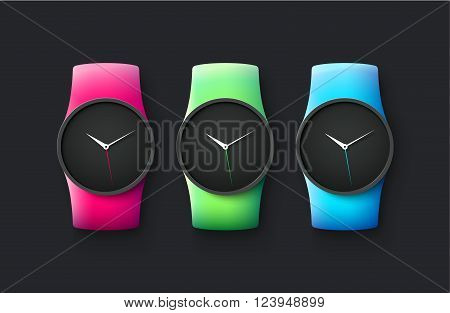 Set of sport and fashion smart wrist watches isolated on black background. Colorful bands  red, green and blue. Vector Illustration