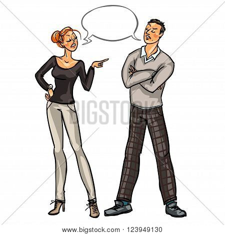 Arguing conflicting people isolated on white background