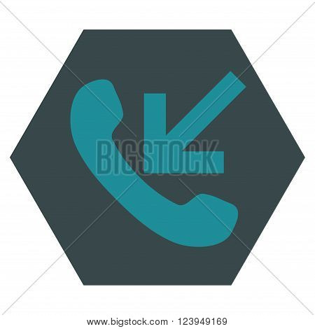 Incoming Call vector pictogram. Image style is bicolor flat incoming call icon symbol drawn on a hexagon with soft blue colors.