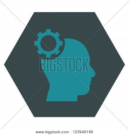 Intellect Gear vector pictogram. Image style is bicolor flat intellect gear pictogram symbol drawn on a hexagon with soft blue colors.