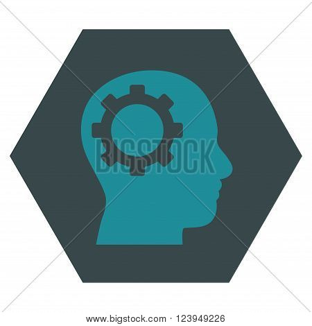 Intellect Gear vector symbol. Image style is bicolor flat intellect gear pictogram symbol drawn on a hexagon with soft blue colors.
