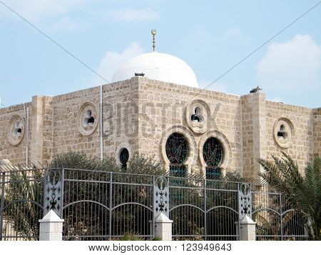 White dome of Hasan-bey Mosque in Tel Aviv Israel