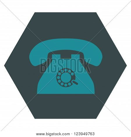 Pulse Phone vector symbol. Image style is bicolor flat pulse phone pictogram symbol drawn on a hexagon with soft blue colors.