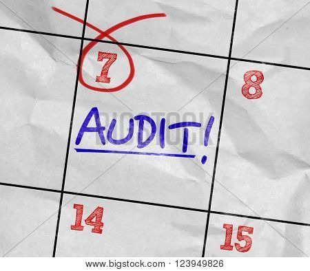 Concept image of a Calendar with the text: Audit
