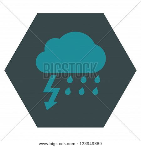 Thunderstorm vector icon. Image style is bicolor flat thunderstorm pictogram symbol drawn on a hexagon with soft blue colors.