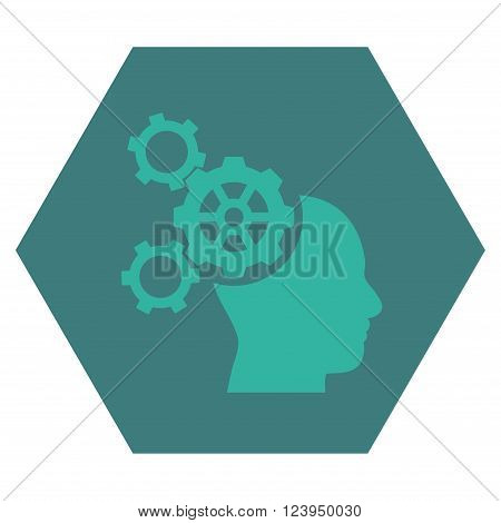Brain Mechanics vector icon. Image style is bicolor flat brain mechanics icon symbol drawn on a hexagon with cobalt and cyan colors.