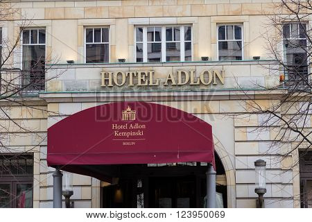 Berlin, Germany - march 30, 2016: Entrance and logo of  the famous Hotel Adlon in Berlin, Germany. The Adlon is Berlins most luxurious hotel.
