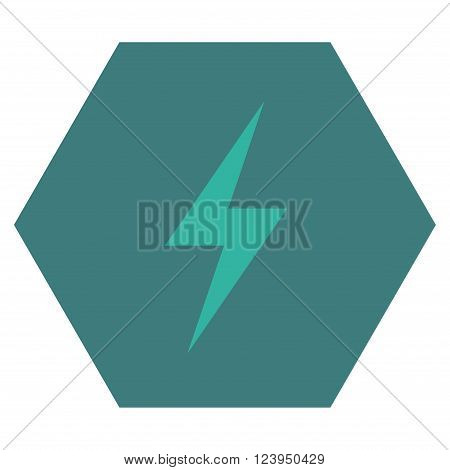 Electricity vector icon. Image style is bicolor flat electricity pictogram symbol drawn on a hexagon with cobalt and cyan colors.