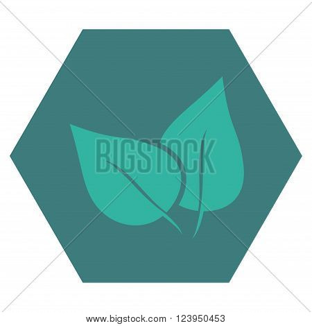 Flora Plant vector icon symbol. Image style is bicolor flat flora plant iconic symbol drawn on a hexagon with cobalt and cyan colors.