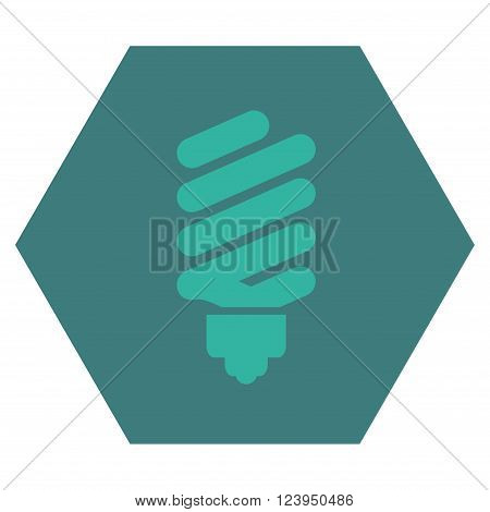 Fluorescent Bulb vector symbol. Image style is bicolor flat fluorescent bulb icon symbol drawn on a hexagon with cobalt and cyan colors.