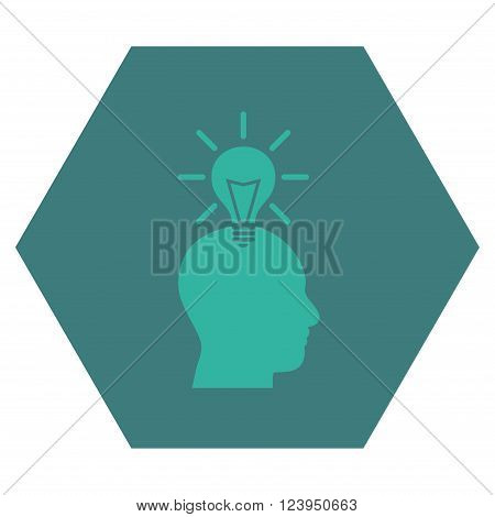 Genius Bulb vector symbol. Image style is bicolor flat genius bulb pictogram symbol drawn on a hexagon with cobalt and cyan colors.