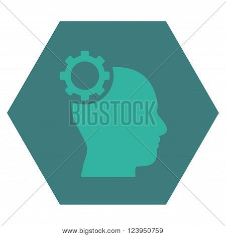 Intellect Gear vector pictogram. Image style is bicolor flat intellect gear icon symbol drawn on a hexagon with cobalt and cyan colors.