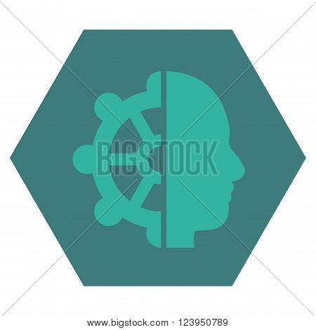 Intellect vector icon symbol. Image style is bicolor flat intellect pictogram symbol drawn on a hexagon with cobalt and cyan colors.