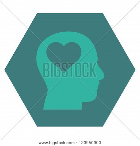 Lover Head vector symbol. Image style is bicolor flat lover head pictogram symbol drawn on a hexagon with cobalt and cyan colors.