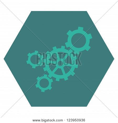 Mechanism vector icon symbol. Image style is bicolor flat mechanism iconic symbol drawn on a hexagon with cobalt and cyan colors.
