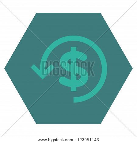 Refund vector symbol. Image style is bicolor flat refund iconic symbol drawn on a hexagon with cobalt and cyan colors.