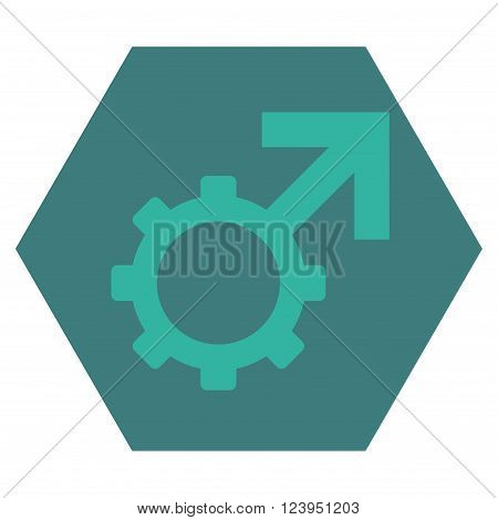 Technological Potence vector symbol. Image style is bicolor flat technological potence pictogram symbol drawn on a hexagon with cobalt and cyan colors.