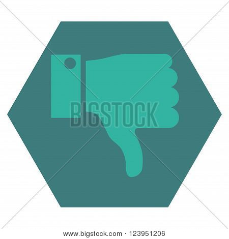 Thumb Down vector pictogram. Image style is bicolor flat thumb down icon symbol drawn on a hexagon with cobalt and cyan colors.