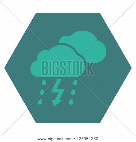 Thunderstorm vector pictogram. Image style is bicolor flat thunderstorm icon symbol drawn on a hexagon with cobalt and cyan colors.