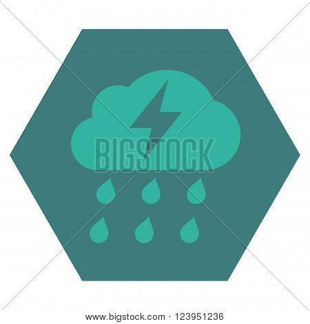Thunderstorm vector pictogram. Image style is bicolor flat thunderstorm iconic symbol drawn on a hexagon with cobalt and cyan colors.