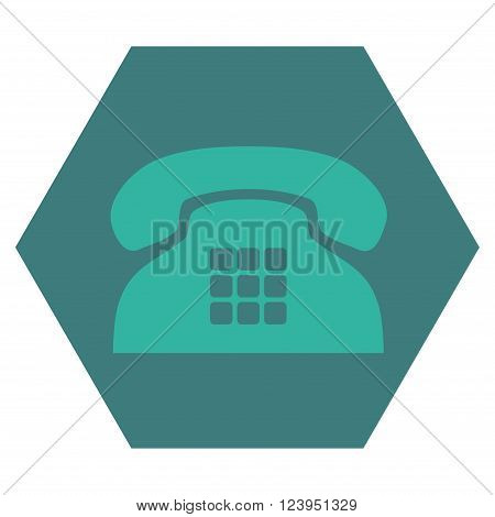 Tone Phone vector icon symbol. Image style is bicolor flat tone phone icon symbol drawn on a hexagon with cobalt and cyan colors.