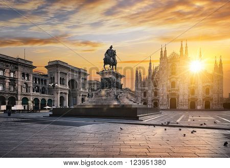 Famous Duomo at sunrise, Milan, Italy, Europe.
