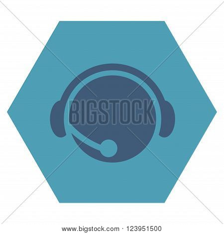 Call Center Operator vector symbol. Image style is bicolor flat call center operator icon symbol drawn on a hexagon with cyan and blue colors.