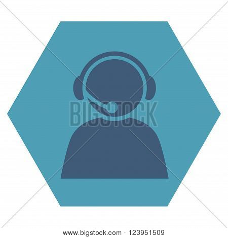Call Center Operator vector pictogram. Image style is bicolor flat call center operator pictogram symbol drawn on a hexagon with cyan and blue colors.