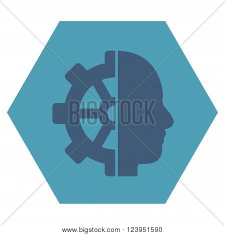 Cyborg Gear vector symbol. Image style is bicolor flat cyborg gear icon symbol drawn on a hexagon with cyan and blue colors.