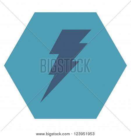 Execute vector icon symbol. Image style is bicolor flat execute iconic symbol drawn on a hexagon with cyan and blue colors.