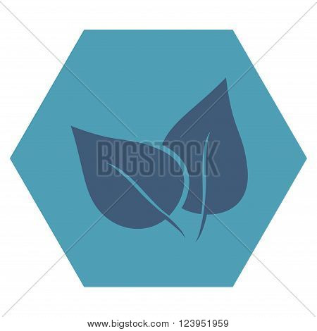 Flora Plant vector pictogram. Image style is bicolor flat flora plant icon symbol drawn on a hexagon with cyan and blue colors.