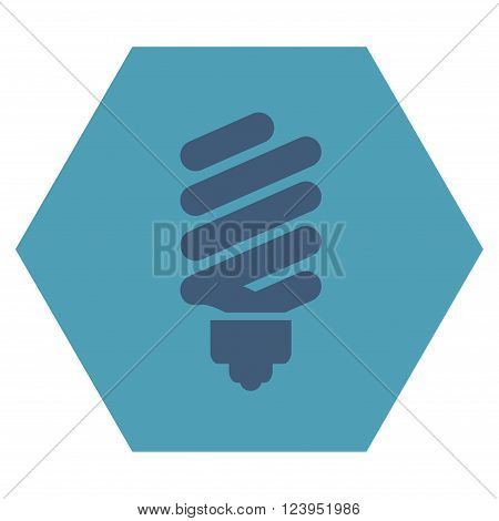 Fluorescent Bulb vector pictogram. Image style is bicolor flat fluorescent bulb icon symbol drawn on a hexagon with cyan and blue colors.