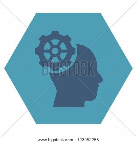 Head Gear vector icon. Image style is bicolor flat head gear icon symbol drawn on a hexagon with cyan and blue colors.