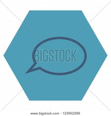 Hint Cloud vector icon. Image style is bicolor flat hint cloud iconic symbol drawn on a hexagon with cyan and blue colors.