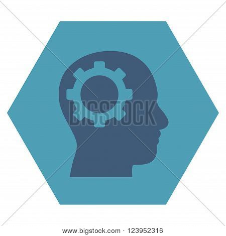 Intellect Gear vector icon symbol. Image style is bicolor flat intellect gear pictogram symbol drawn on a hexagon with cyan and blue colors.