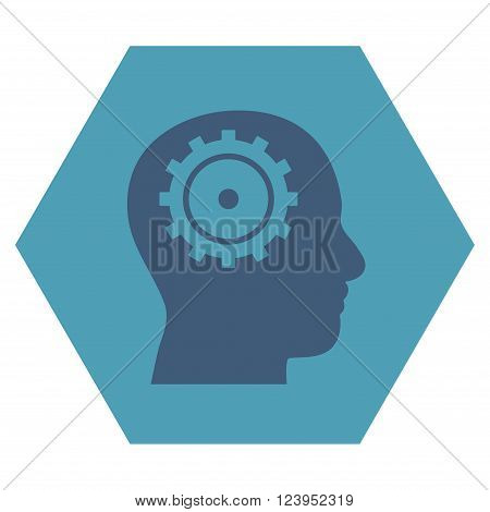 Intellect vector icon. Image style is bicolor flat intellect icon symbol drawn on a hexagon with cyan and blue colors.