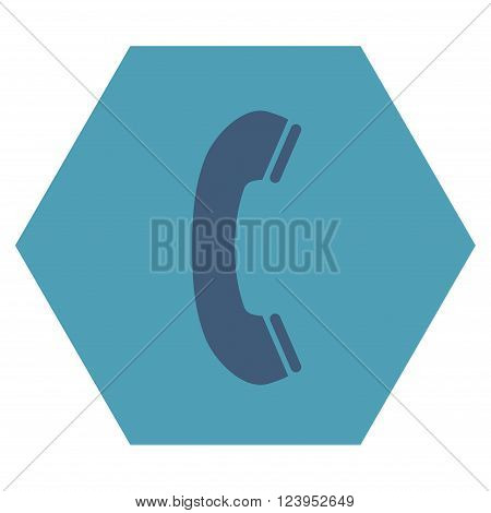Phone Receiver vector icon. Image style is bicolor flat phone receiver pictogram symbol drawn on a hexagon with cyan and blue colors.