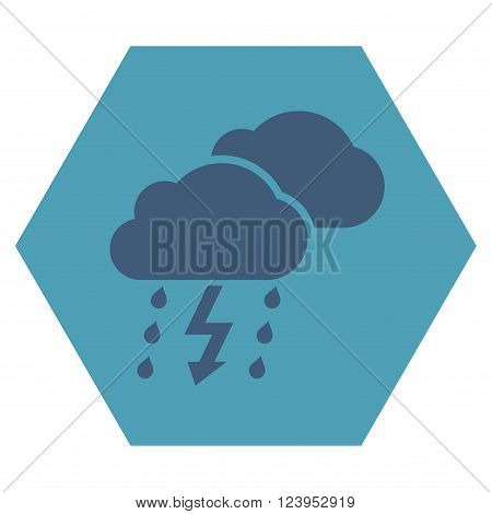 Thunderstorm vector symbol. Image style is bicolor flat thunderstorm icon symbol drawn on a hexagon with cyan and blue colors.