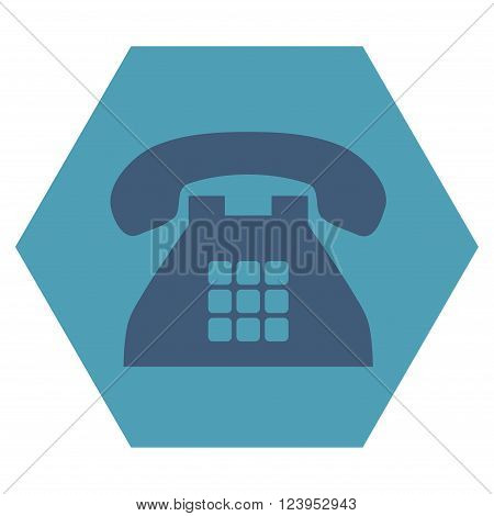 Tone Phone vector pictogram. Image style is bicolor flat tone phone icon symbol drawn on a hexagon with cyan and blue colors.