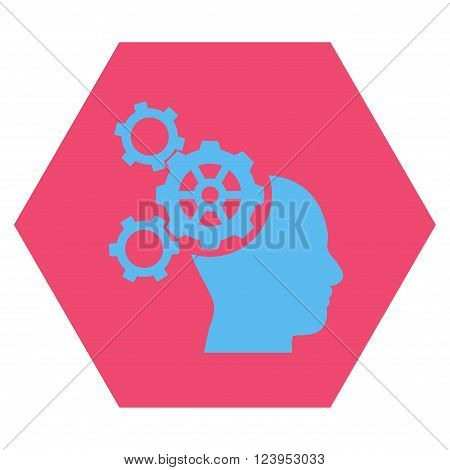 Brain Mechanics vector symbol. Image style is bicolor flat brain mechanics icon symbol drawn on a hexagon with pink and blue colors.